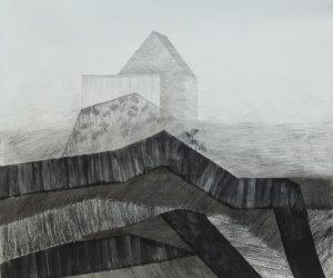 Kleine Hütte Bleistift Zeichenkohle Aquarell auf Papier 50x60 cm 2020